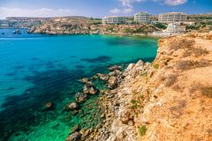 Golden bay, Malta. Hotels in Resort Golden bay in Malta royalty free stock photography