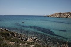 Golden bay in Malta. Travel destinations royalty free stock images