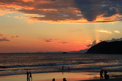 Golden beach brazil. A sunset picture at barra do una beach , sao paulo , brazil Royalty Free Stock Photo