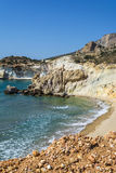 Golden beach and coastline at the Greek island of Milos royalty free stock images