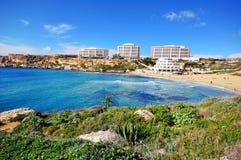 Golden beach, Malta, Mediterranean sea Royalty Free Stock Image