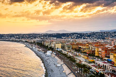 Golden Beach of Nice, France. Golden beach of Nice in sunser, France Stock Photo