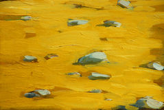 Golden beach sand on sea coast, painting Stock Photography