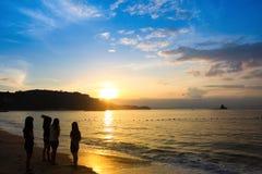 Golden beach and sunrise Stock Photos