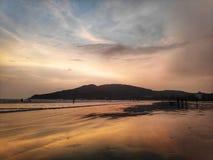 Golden  beach Sunset waves. Point, , landscape, sky, golden stock photo