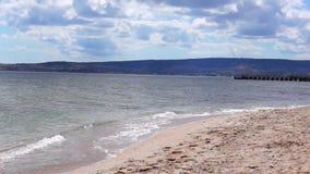 Golden beach surf in Crimea stock video footage
