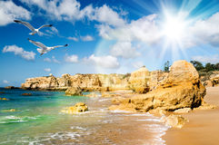 Golden beaches of Albufeira, South Portugal. Golden beaches and sandstone cliffs near Albufeira, South Portugal Royalty Free Stock Photo