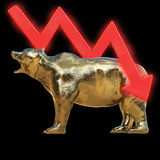 Golden bear with chart, 3D rendered Royalty Free Stock Images