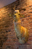 Golden Bedazzled Animal Head Wall mounted. Mounted animal head on brick wall Stock Photo