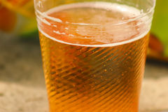 Golden beer, ale or lager in a plastic disposable cup stock photography