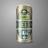 Golden beer can with label, isolated on gray Stock Photography
