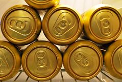 Golden beer cans Stock Photo