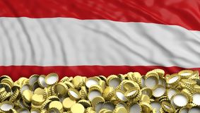 Golden beer caps pile on Austrian flag backgroun. 3d illustration. Austrian beers. Golden beer caps pile on Austrian flag background. 3d illustration Stock Photography