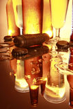 Golden beer on the counter Royalty Free Stock Image