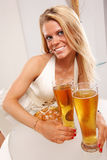 Golden beer table Stock Photography