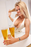 Golden beer table Royalty Free Stock Image