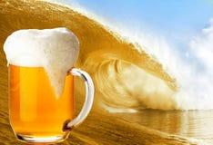 Golden Beer wave Stock Photo