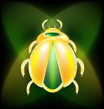 Golden beetle. On a dark-green background is a large golden beetle Royalty Free Stock Photography