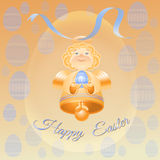 Golden bell angel with blue Ester eggs. Royalty Free Stock Images
