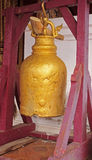 Golden bell in Buddhist temple stock photos