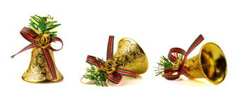 Golden Bell For Christmas Decoration Isolated On White Background Royalty Free Stock Photography