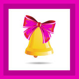 Golden bell with pink ribbon, in a frame, on a white background. Royalty Free Stock Photography