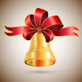 Golden bell with bow Stock Images