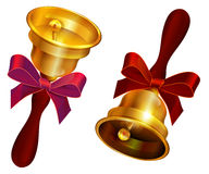 Golden bell with red bow. Holiday Last call at school Stock Images
