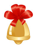 Golden bell with red ribbon Stock Image
