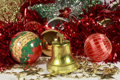 Golden bell, stars, baubles and other Christmas decorations Royalty Free Stock Photography