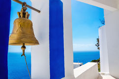 Golden bell - typical blue-white church in Greece Stock Images