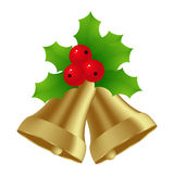 Golden bells. Decorated with holly and berries. Vector illustration Royalty Free Stock Image