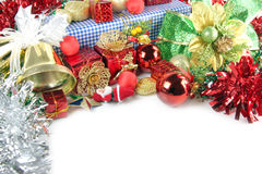 Golden Bells and Accessory decorations of Christmas day. Royalty Free Stock Photos