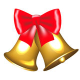 Golden bells with bow Stock Photos