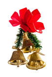 Golden bells with christmas decoration Stock Photo