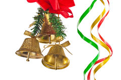 Golden bells with christmas decoration Stock Image