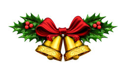 Golden bells with Christmas tree and red ribbon, berries Royalty Free Stock Photo