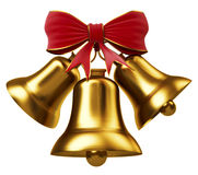 Golden bells with red bow. (3d render Stock Image