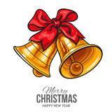 Golden bells with a red bow, Christmas greeting card Royalty Free Stock Images
