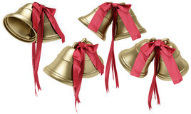 Golden bells with a red bow Stock Image