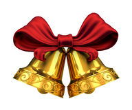 Golden bells and red ribbon isolated Royalty Free Stock Photos