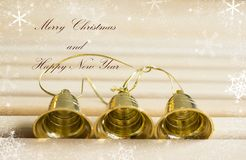Golden bells with text effect Stock Photography
