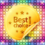 Golden best choice sticker on disco lights Royalty Free Stock Image