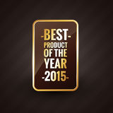 Golden best product of the year 2015 design label. Badge Royalty Free Stock Images