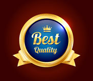 Golden Best Quality Badge. Golden and blue best quality guarantee badge Stock Photo