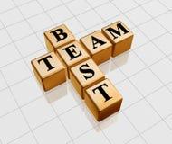 Golden best team. 3d golden boxes with text - best team, crossword Stock Photo