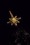 Golden Bethlehem star topped on christmas tree. Stock Images