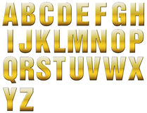 Golden, Beveled, Allcaps Alphabets Stock Photography