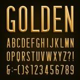 Golden Beveled Narrow Font. Vector Alphabet. Royalty Free Stock Photo