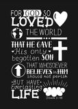 Golden Bible verse John 3 16 For God so loved the world, made hand lettering with heart and cross on black background. Golden Bible verse John 3 16 For God so Stock Photo